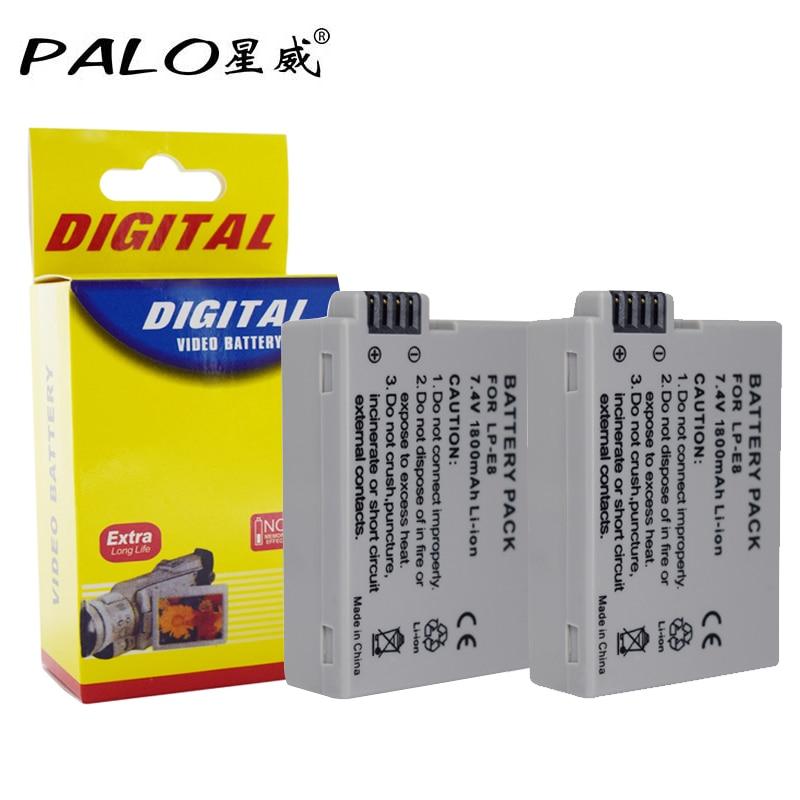 2 PCS LP-E8 Battery Pack Bateria LP-E8 Lp E8 For Canon 550D 600D 650D 700D X4 X5 X6i X7i T2i T3i T4i T5i DSLR Camera