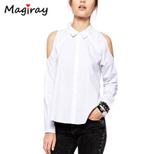 Magiray Long Sleeve Off Clod Shoulder Shirt Women Button-Down White Blouse Black Casual 2019 Loose Summer Female Ladies Tops(China)