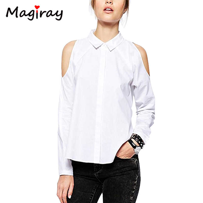 Magiray Long Sleeve Off Clod Shoulder Shirt Women Button-Down White Blouse Black Casual 2019 Loose Summer Female Ladies Tops