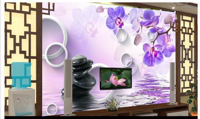 3d фото обои 3D настенные фрески обои 3 D бабочки орхидеи галька ТВ установка стены 3d обои Home Decor