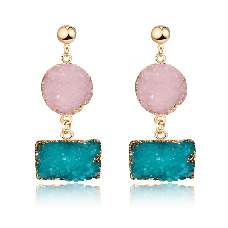 Bohemia Handmade Pink Resin Stone Earings For Women Jewelry Square Geometric Drop Dangle Druzy Drusy Earing Long Earrings E210