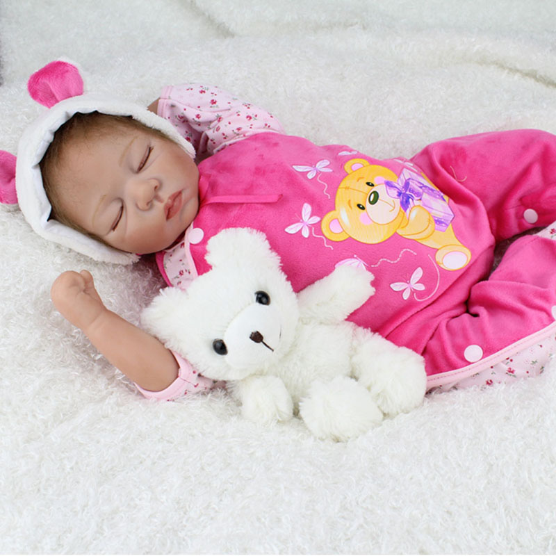 купить Silicone Reborn Baby Dolls Sleeping Babies Real Vinyl Belly 55cm Toys for Girls Brinquedos Reborn Bonecas Christmas Present по цене 6329.89 рублей
