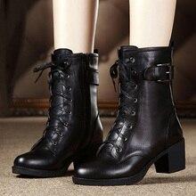 women boots 2019 High-heeled genuine leather women winter boots thick  warm women Martin boots high-quality female snow boots цена в Москве и Питере