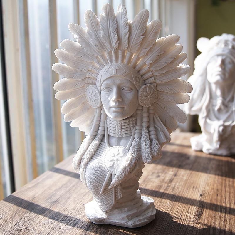 Индейцы Mantel смола фигура украшения Смола Бюст эскиз Практика Модель/смола скульптура/ремесла Бизнес подарки оптом