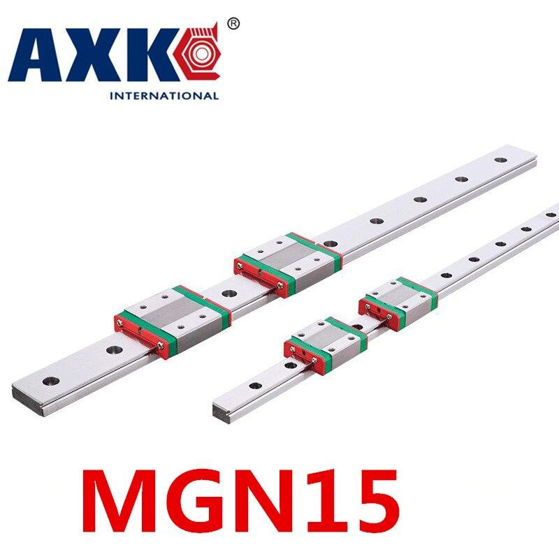 NEW 2pcs 15mm miniature linear guide MGN15 L= 800mm rail + 4pcs MGN15H CNC block for 3D printer parts XYZ cnc parts roland sj 640 xj 640 l bearing rail block ssr15xw2ge 2560ly 21895161 printer parts