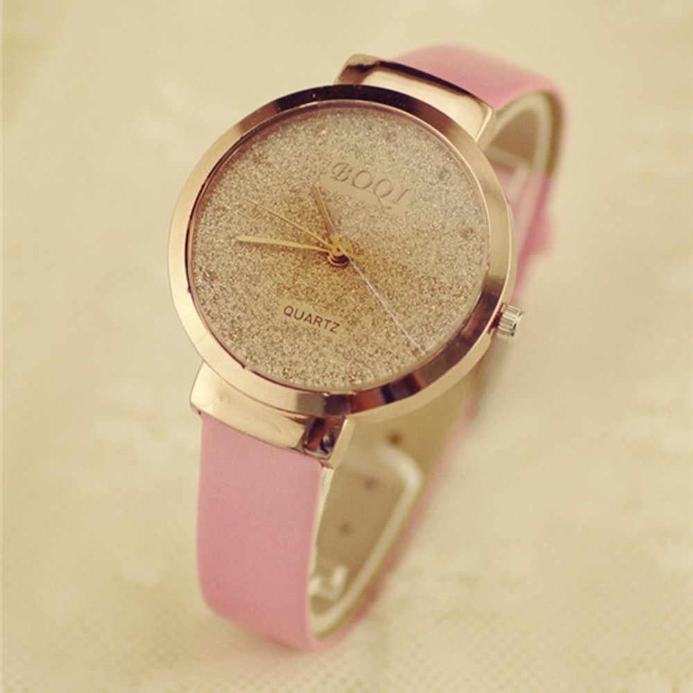 Kobieta dziewczyna luksusowe piaski gwiaździste proste podkreślające temperament kwarcowy zegarek kobiet zegarki Top marka luksusowe Reloj Mujer kobiet zegarki moda