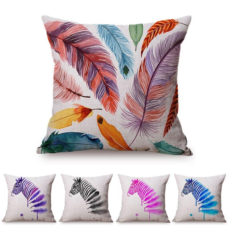 >Colorful Feather Sofa Throw Pillows Pink Blue Violet Black <font><b>Zebra</b></font> <font><b>Africa</b></font> <font><b>Prairie</b></font> Animal Watercolor Home Decorative Cushion Cover