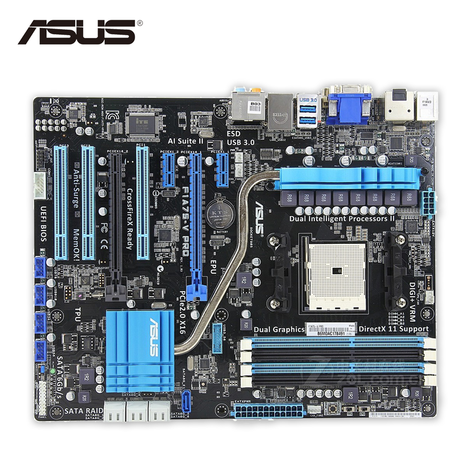 все цены на Asus F1A75-V PRO Desktop Motherboard A75 Socket FM1 DDR3 64G SATA3 USB3.0 ATX Second-hand High Quality онлайн