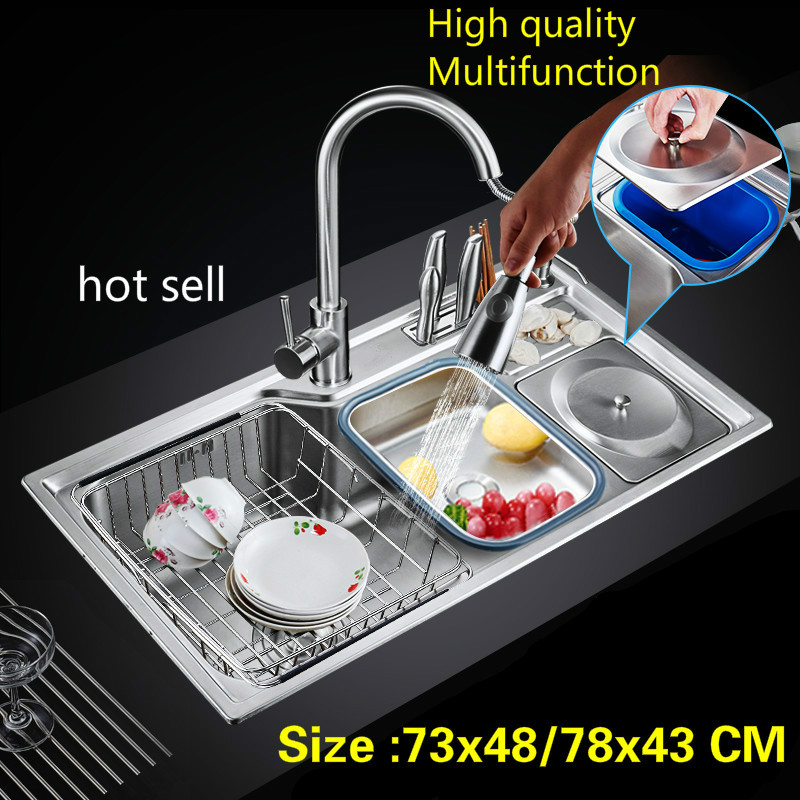 Free shipping Household luxury kitchen single trough sink do the dishes 304 stainless steel big hot sell 73x48/78x43 CMFree shipping Household luxury kitchen single trough sink do the dishes 304 stainless steel big hot sell 73x48/78x43 CM