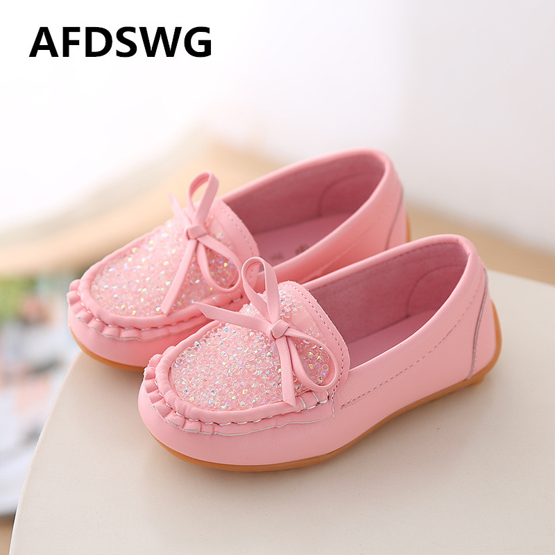AFDSWG spring and autumn fashion diamond PU tendon soft bottom girls leather shoes children leather shoes girls princess shoes