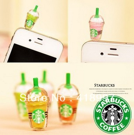 30Pcs/lot,Cute Starbucks shaped earphone jack dust cap plug for iPhone 4G 4S 5, mobile phone with retail packaging,free shipping
