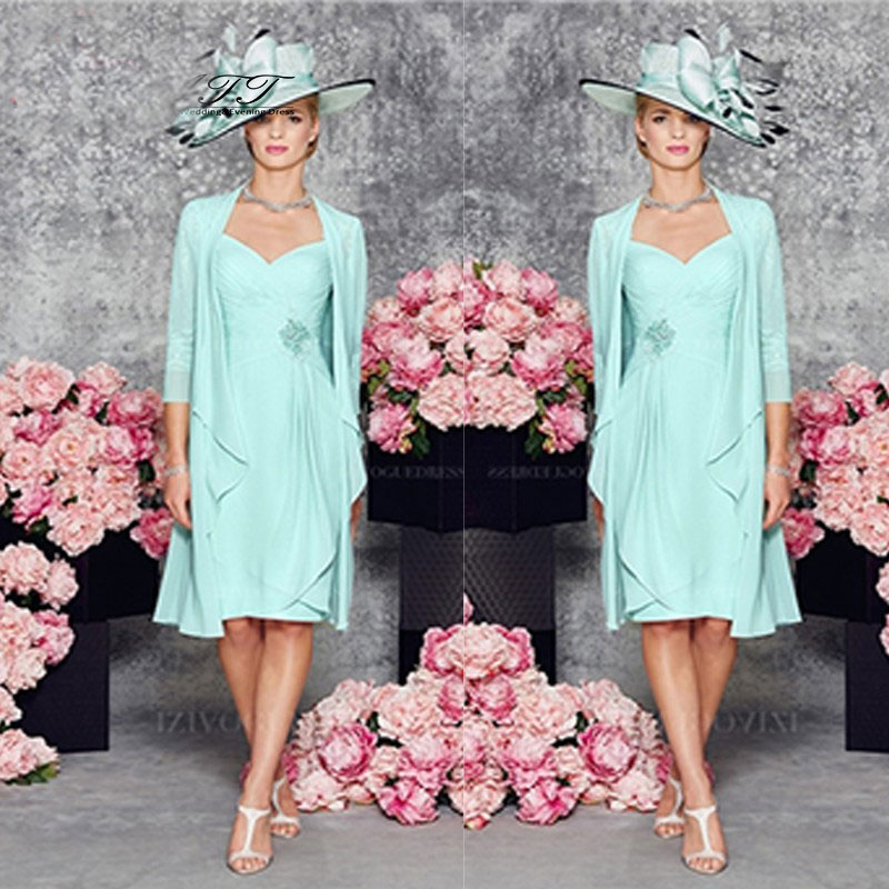 Graceful Mint Green Chiffon Mother Of the Bride Dresses with Jacket Sleeveless Pleat Evening Gowns Cusom Made Party Gowns
