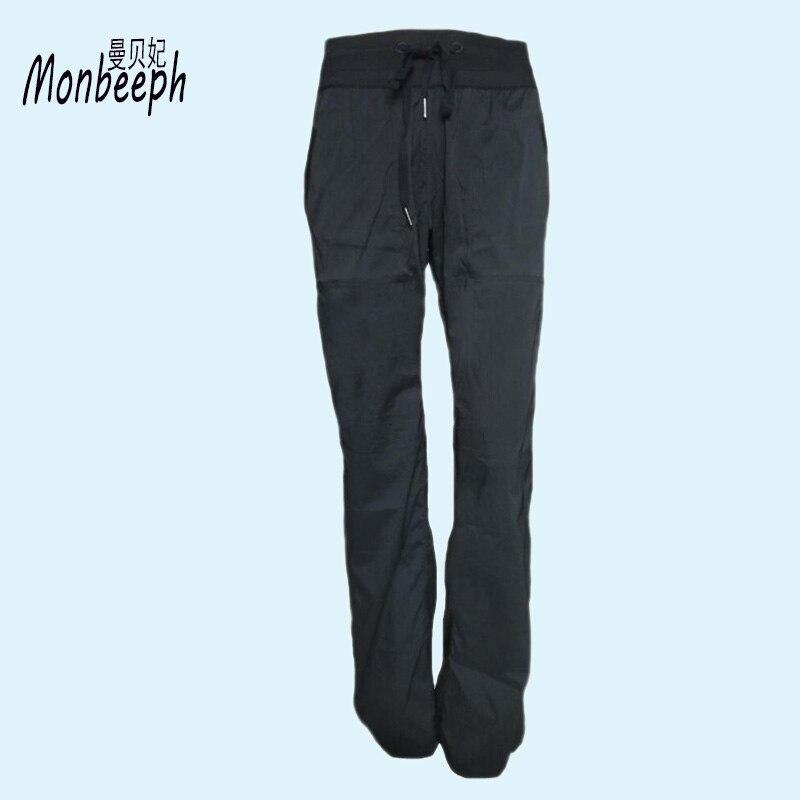 Monbeeph 2018 Delle Donne di Alta Elastico In Vita Pantaloni Diritti Femminili Casual Allentato Pantaloni Lunghi Pantaloni a Gamba Larga