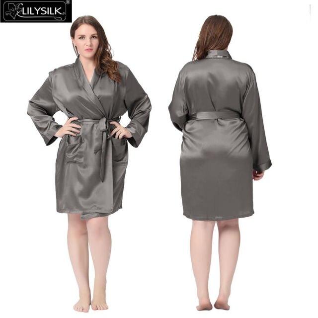 Lilysilk Женщин шелковый халат 100% натуральный шелк средней длины 22 momme Большой размер 5xl домашний халат кимоно ночнушка одежда для дома китайском стиле