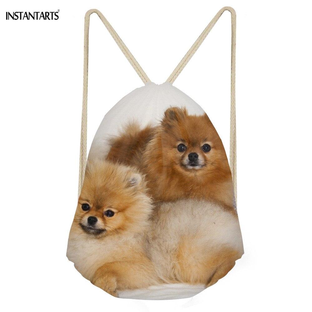 INSTANTARTS Drawstring Bag Women Fashion Small 3D Pomeranians Pet Dog Prints Girls Backpack Casual Children Storage