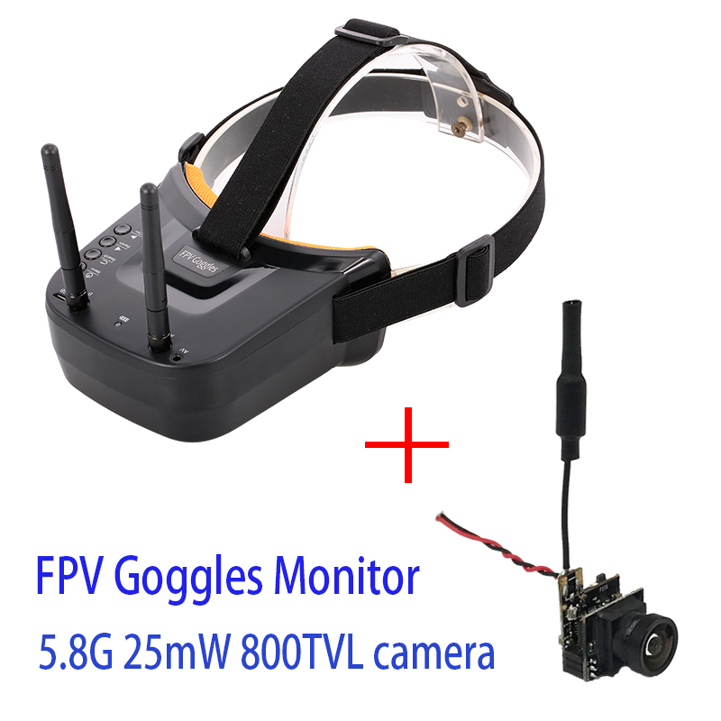 5.8G 40CH Dual Antennas FPV Goggles Monitor Video Glasses Headset HD For Racing Drone With 5.8G 25mW Video Transmitter Camera