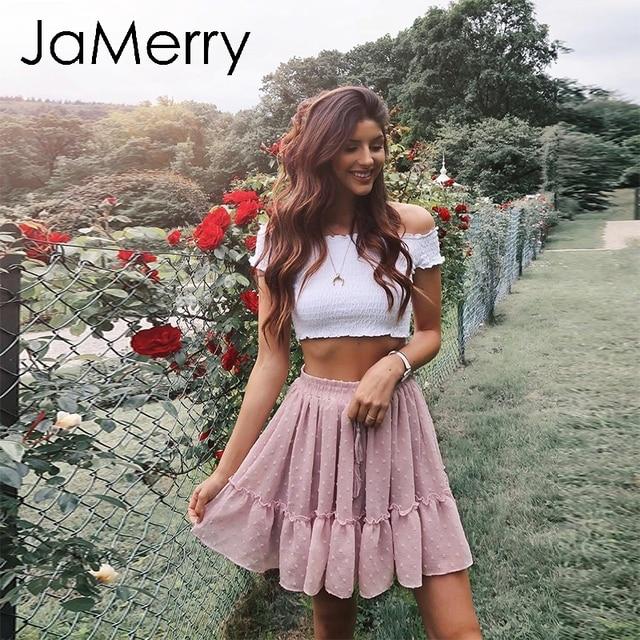 JaMerry Boho drukuj mini krótkie kobiety spódnica wysokiej talii polka dot pomponem linia lato spódnica Sexy wzburzyć plaża spódnice
