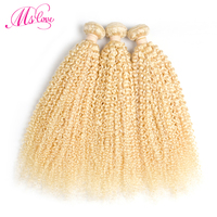 Ms Love 613 Blonde Kinky Curly Hair Peruvian Remy Human Hair Extensions 3 Bundle Deals Afro Kinky Curly Hair