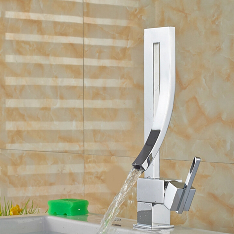 Modern Stylish Kitchen Faucet Hot And Cold Water Unique Bend Deck Moute Mixer Bathroom faucet Chrome Single Handle micoe hot and cold water basin faucet mixer single handle single hole modern style chrome tap square multi function m hc203