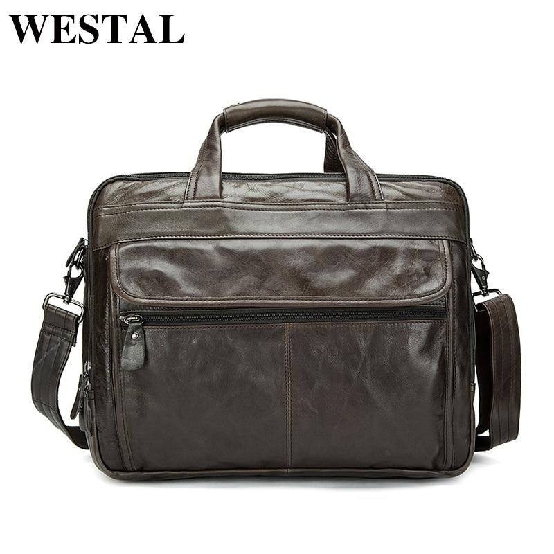 WESTAL Genuine Leather Men Bag Briefcase Laptop Briefcases 14inch Laptop Bags Men Messenger Bags Men' Leather Bag Briefcase цена и фото