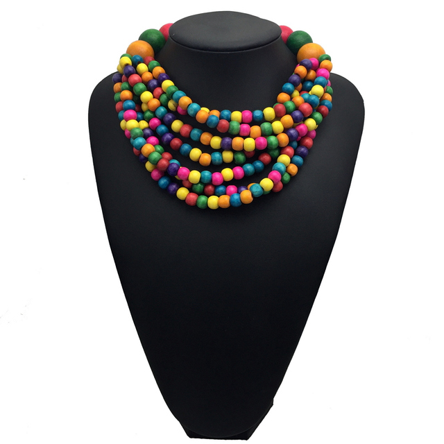 Bohemian Multi-color Wood Bead Chokers Necklace Jewelry