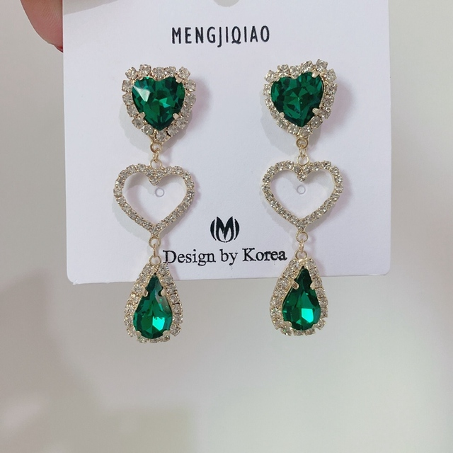 MENGJIQIAO New Korean Shiny Heart Crystal Drop Earrings For Women Fashion Shell Rhinestone Boucle D oreille.jpg 640x640 - MENGJIQIAO New Korean Shiny Heart Crystal Drop Earrings For Women Fashion Shell Rhinestone Boucle D'oreille Party Jeweley Gift