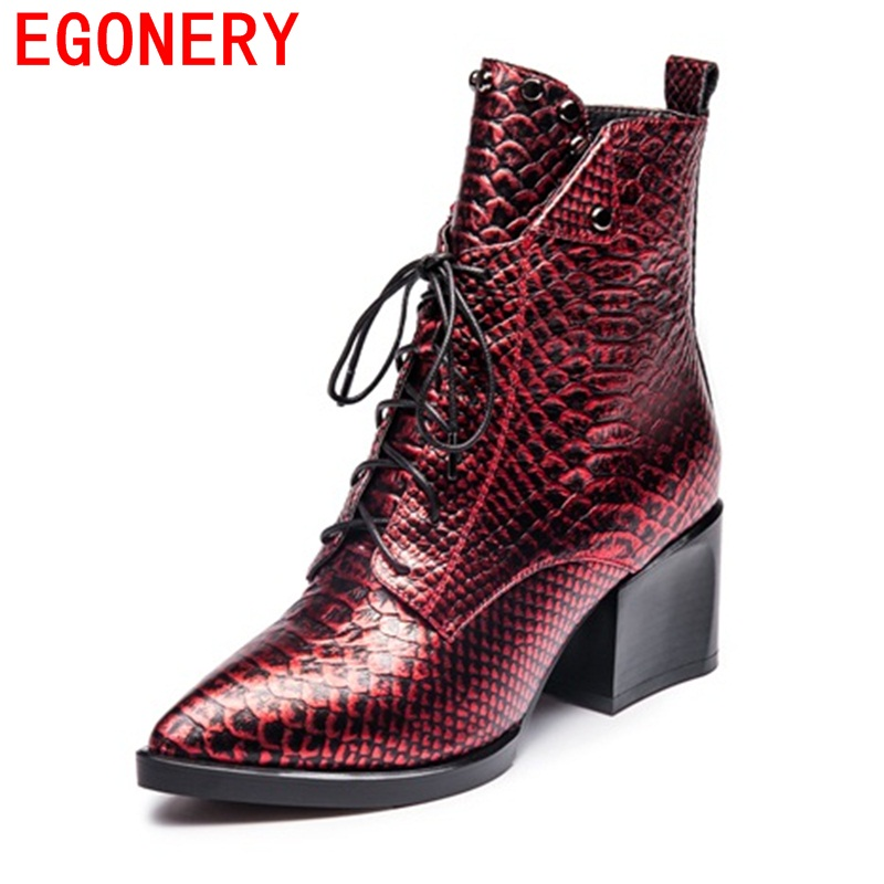EGONERY ankle boots high quality hot sale genuine leather high pointed toe fashion lace-up rivets women red wine winter boots fashion hot sale genuine leather low heels pointed toe rivets buckle square heel autumn winter women ankle boots