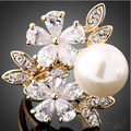 New Fashion Luxurious  Large Oversized Pearl  Rings For women Strong Statement  Striking High Quality AAA grade CZ Flower Ring