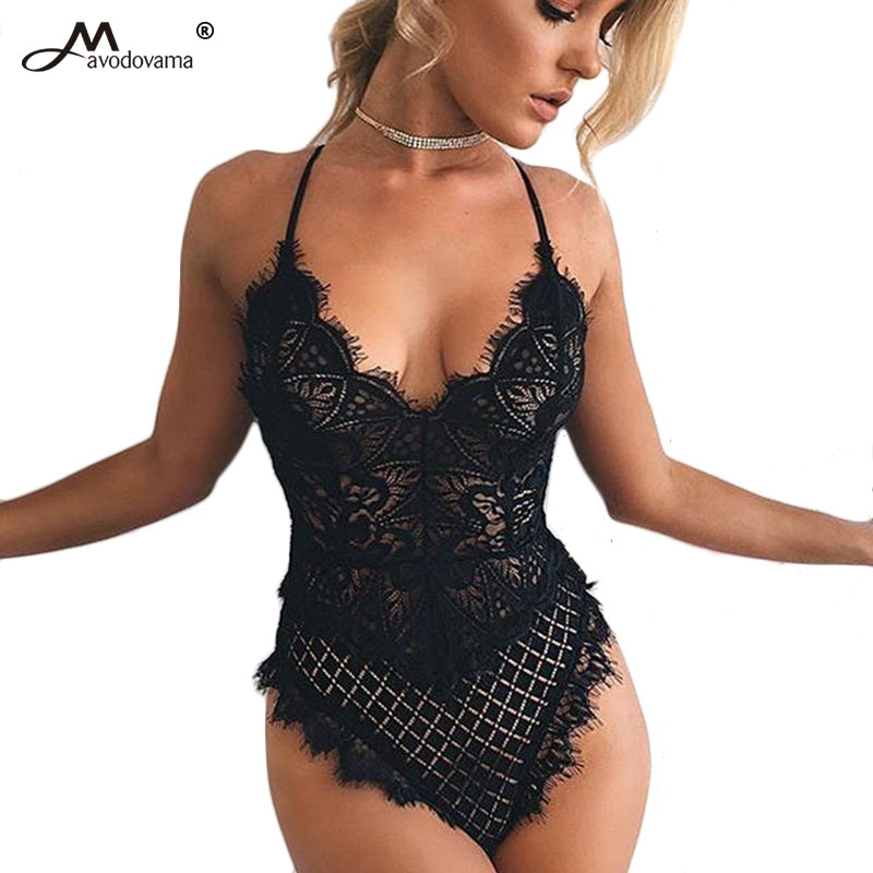 Avodovama M Female Lace Bodysuits New Summer Women SleevelessSkinny Solid Sexy Hole Jumpsuit