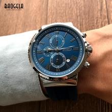 BAOGELA Mens Blue Analogue Quartz Watches Fashion Classic Roman Numerals Dial Chronograph Wristwatch for Man1708G-Blue