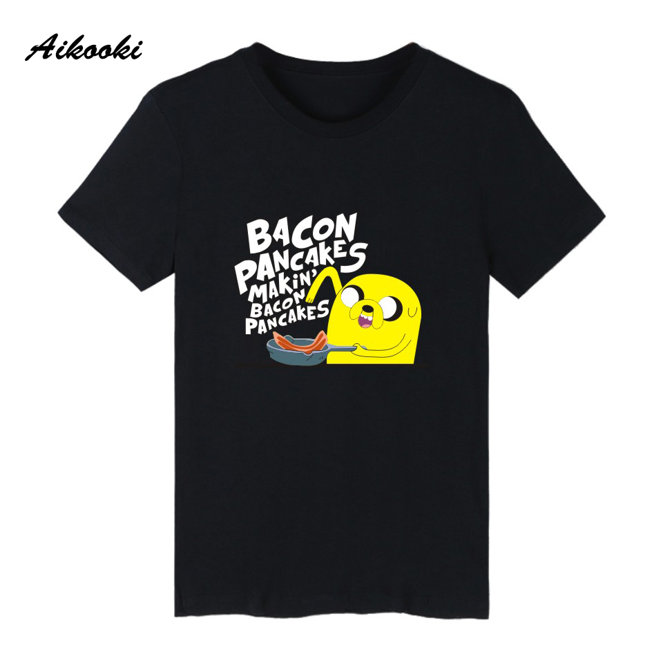 2018 Aikooki Cartoon Adventure Time   T     shirt   Men/women Summer Cotton Black/White Short Sleeve Funny Top Clothes
