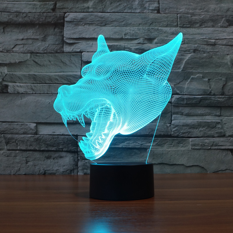 3D Atmosphere lamp 7 Color Changing Visual illusion LED Decor Lamp Wolf Head Home Table Decoration for Child Gift