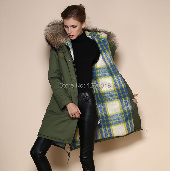 New fashion winter very warm coat parka, Cashmere fur overcoat for women,long style natural fur collar faux fur parka