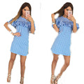 The new European and American casual plaid lotus leaf short - sleeved dress women women dress   060