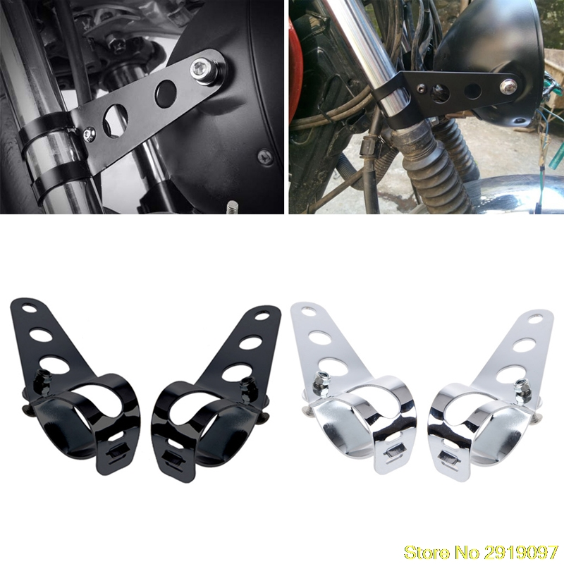New Arrive 2x Universal 33-45mm Motorcycle Headlight Mount Bracket Fork Ears For Bobber Cafe Racer Drop Shipping Support