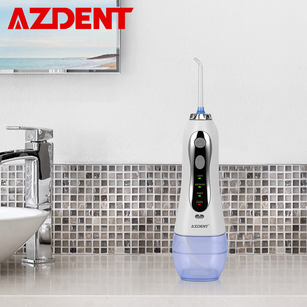 AZDENT 新 3 モードポータブル歯科フロッサコードレス電動口腔ジェット洗浄器 USB 充電式ウォータージェットフロッサ 300 ミリリットル + 5 先端  グループ上の 美容 & 健康 からの デンタルフロッサ の中 1