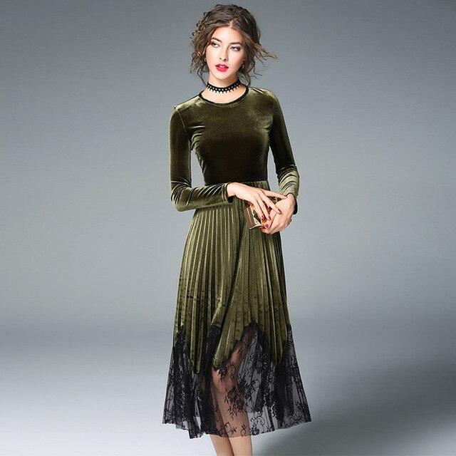 brand new 479e8 2a289 US $92.0 |Velluto verde Vestiti Dalle Donne Breve Moda Manica Lunga 2017  Autunno Elegante Sottile Ricamo Pieghettato Del Progettista Più Nuovo  Vestito ...