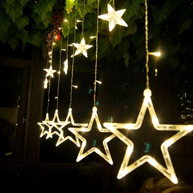 Kingoffer 2M 138 LEDS Curtain Decorative String Lights Big Star Fairy  Lighting Garland Wedding Holiday Xmas