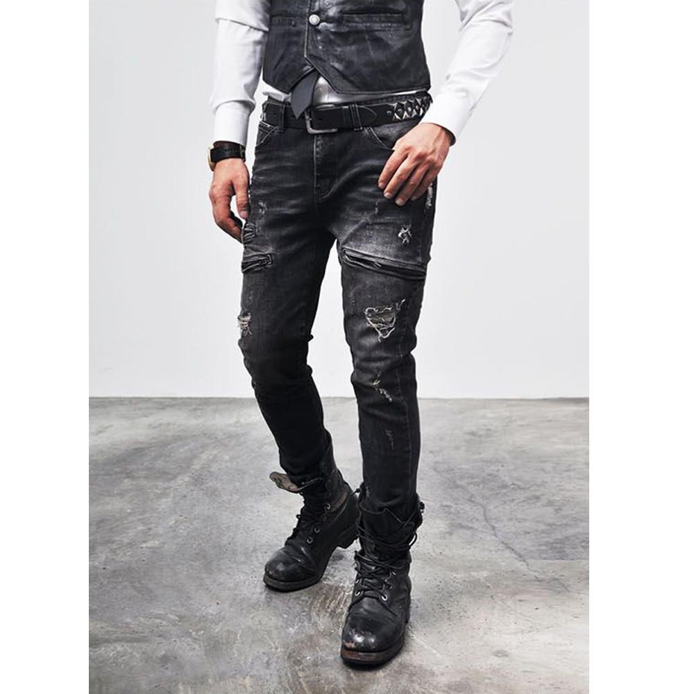 6e69c2e488 Hombres Raídos Hippie Biker Jeans Bolsillo Con Cremallera Denim Jeans Slim  Fit Pitillo pantalones Rectos Pantalones Punk Jeans para Hombre Italiano  estilo ...