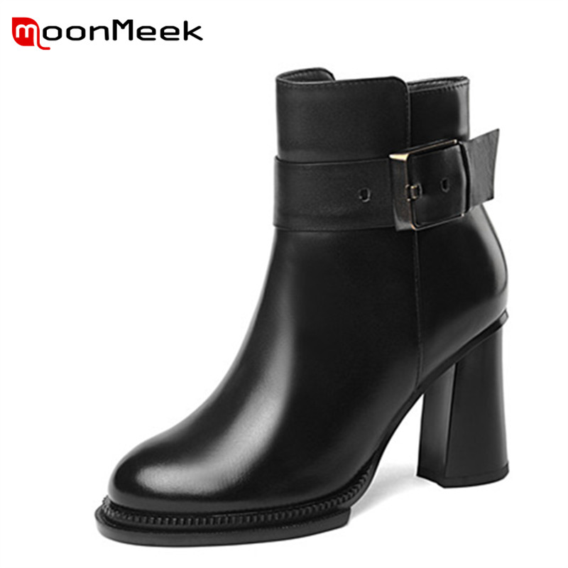 MoonMeek fashion 2018 autumn winter women boots hot sale mid boots popular ladies genuine leather boots цена 2017