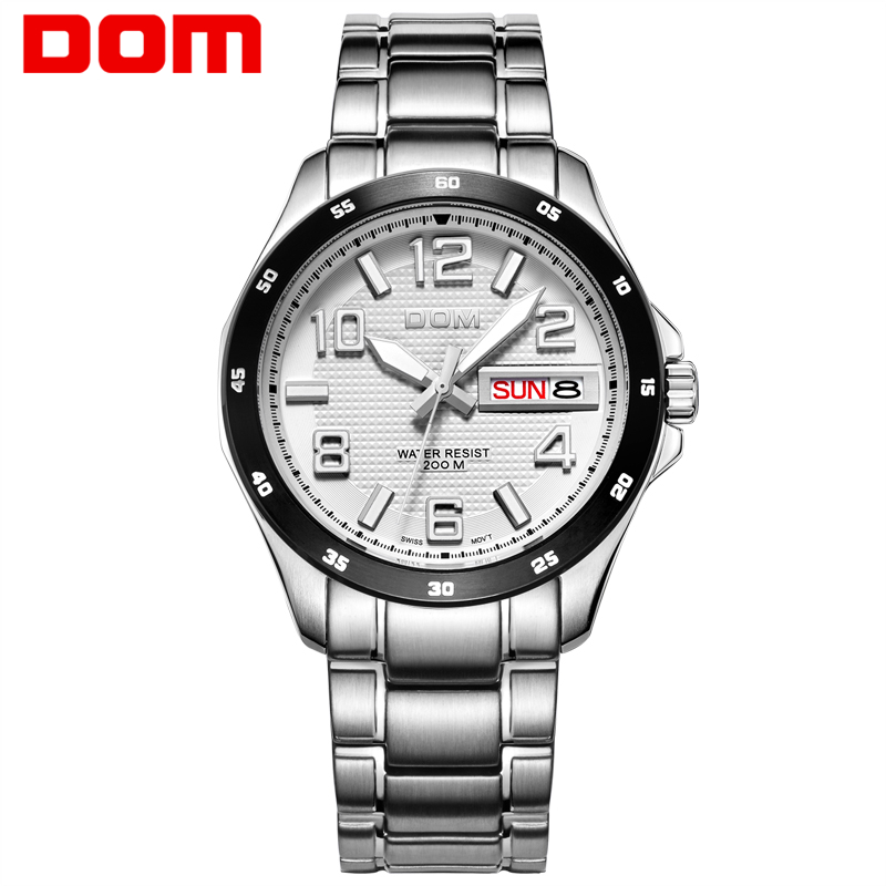watch men DOM Top Brand Luxury Quartz watch Casual quartz-watch leather Mesh strap ultra thin clock male Relog M-11BL-1M все цены