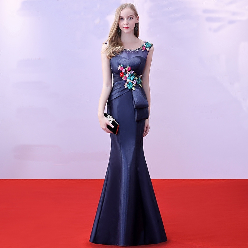 Beauté Emily dames robes formelles Vestido De Fiesta sirène bleu Royal longue robe De soirée 2018 nouveau design sexy robe De soirée