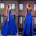 2016 Nuevos Atractivos Backless Bow Vestidos de Bola Azul Del Vestido Del Tanque Vestido de verano Vestido Largo Más El Tamaño de Las Mujeres Ropa de Gasa Plisada vestidos