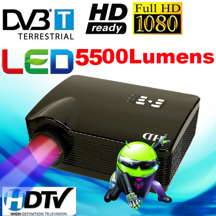 ATCO Best Quad core Android 4.4 Wifi Smart 1080P Full HD 5500Lumens DVBT Digital TV Proyector Beamer Led 3D Projector 1280*800 - WZSZBH store