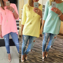2018 Women Candy Color Loose Office Blouse 3/4 Sleeve Long Shirt Ladies BOHO Mini Shirts Casual O-Neck Tops Drop Shipping