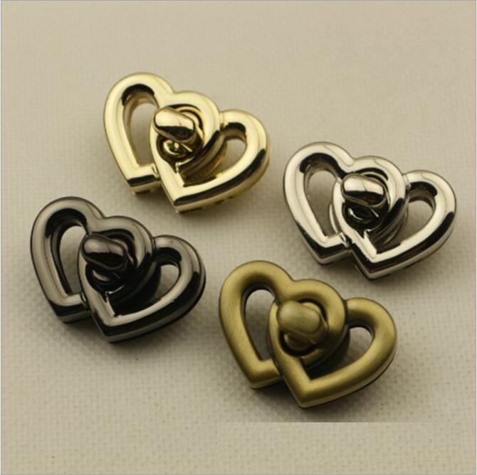 (10pieces/lot) Bags Handbag Hardware Accessories Two Heart Shapes Rotating Decorative Twist Lock Metal Fittings