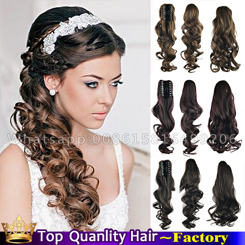 24'' Natural Curly Long Claw clip Side Ponytail Wedding Hairstyles for woman Bridal Wedding wavy ...