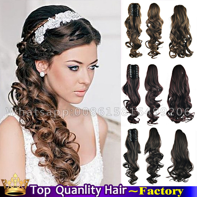 24\'\' Natural Curly Long Claw clip Side Ponytail Wedding Hairstyles ...