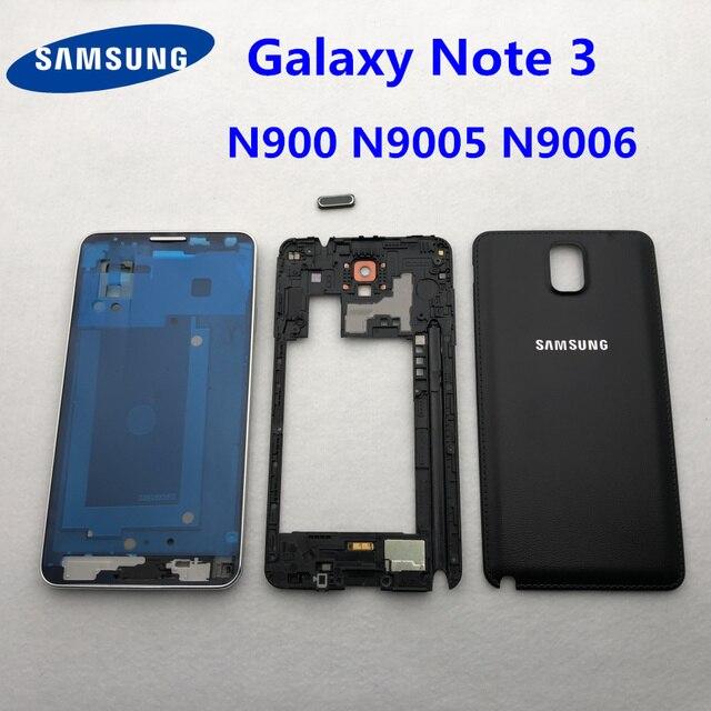 חלקי דיור מלא עבור Samsung Galaxy הערה 3 N900 N9005 N9006 קדמי LCD מסגרת חזרה כיסוי note3 חזרה סוללה כיסוי אמצע מסגרת