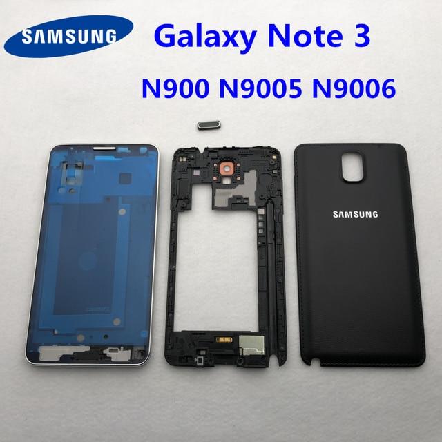 Samsung Galaxy Note 3 Için tam Konut Parçaları N900 N9005 N9006 Ön LCD Çerçeve arka kapak note3 Arka Pil Kapağı Orta çerçeve